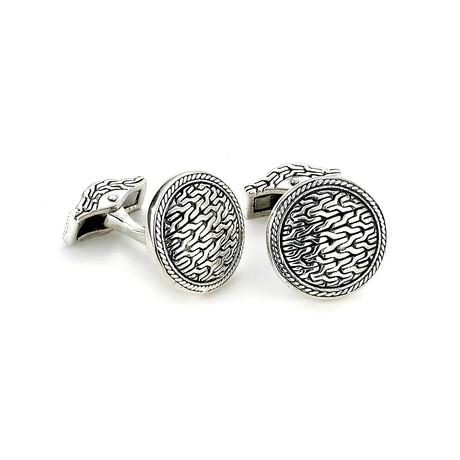 Sterling Silver Tulang Naga Round Cuff Links