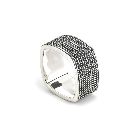Sterling Silver Textured Square Ring // Silver