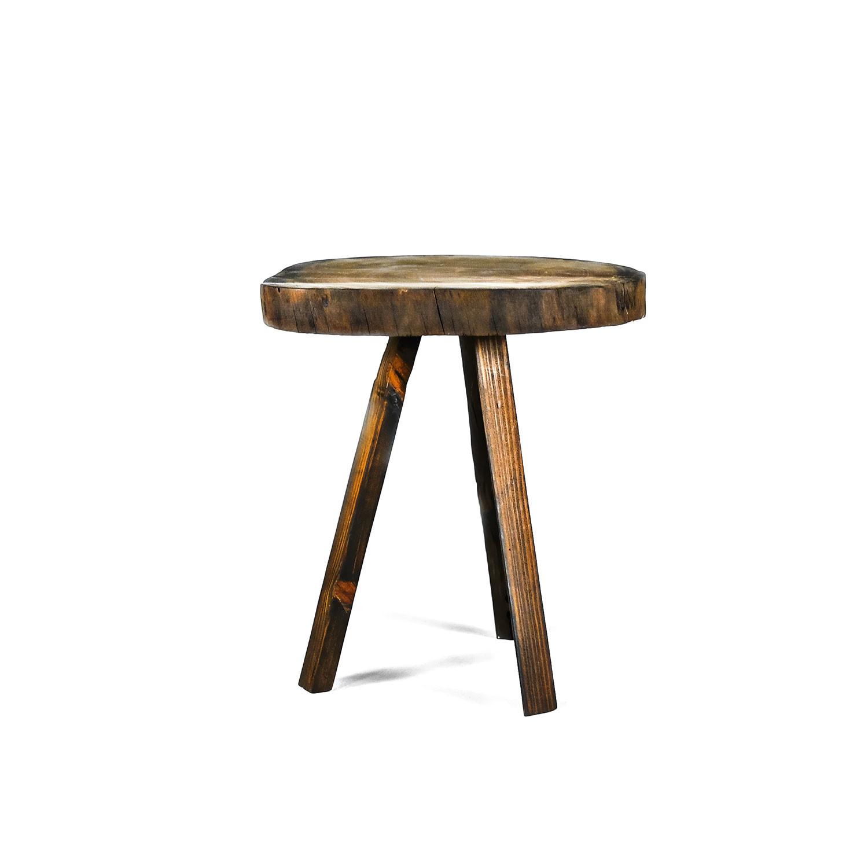 Round Mahogany Side Table // Espresso