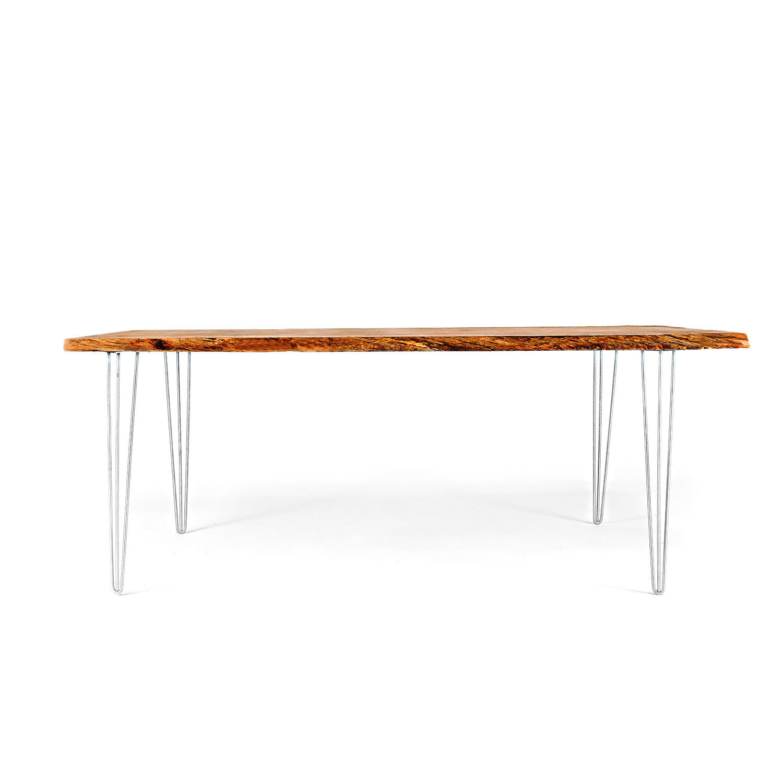 Live Edge Oak Dining Table // Natural (Modern Wood Leg)