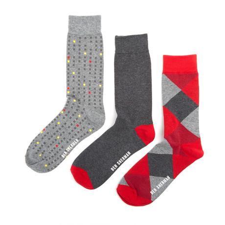 Chestnut dress sock grey marl red claret pack of 3 fashion