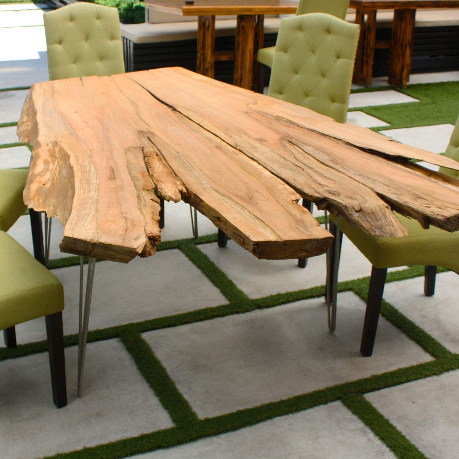 live edge cypress dining table natural mid century classic leg 2 rods palm beach. Black Bedroom Furniture Sets. Home Design Ideas