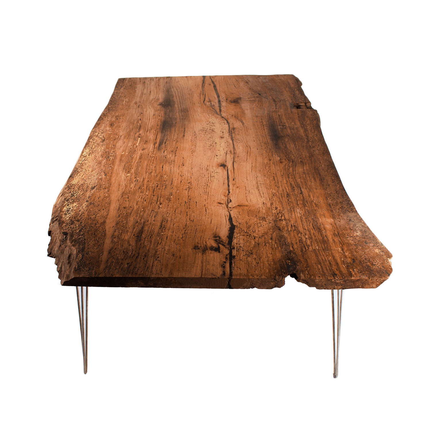 Awesome Live Edge Oak Dining Table // Natural (Modern Wood Leg)