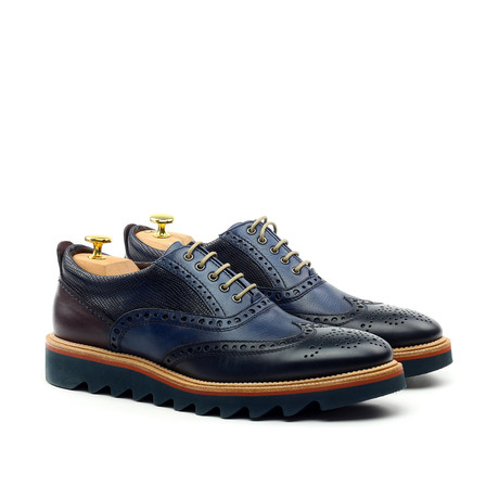 Decorative Perforated Derby // Navy (Euro: 39)