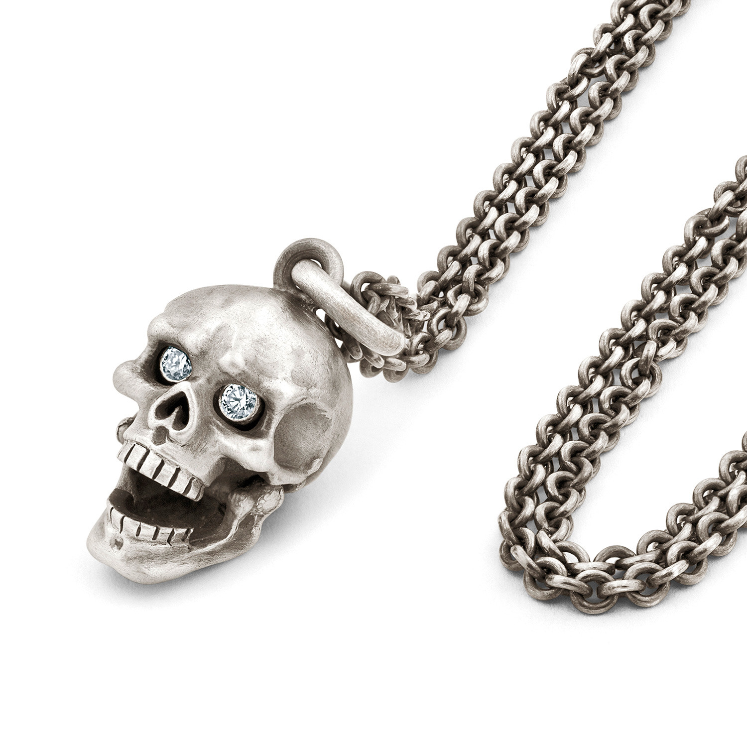 Snake Bones Skull Pendant With Hinged Jaw and Diamond Eyes uY3VelzJqp