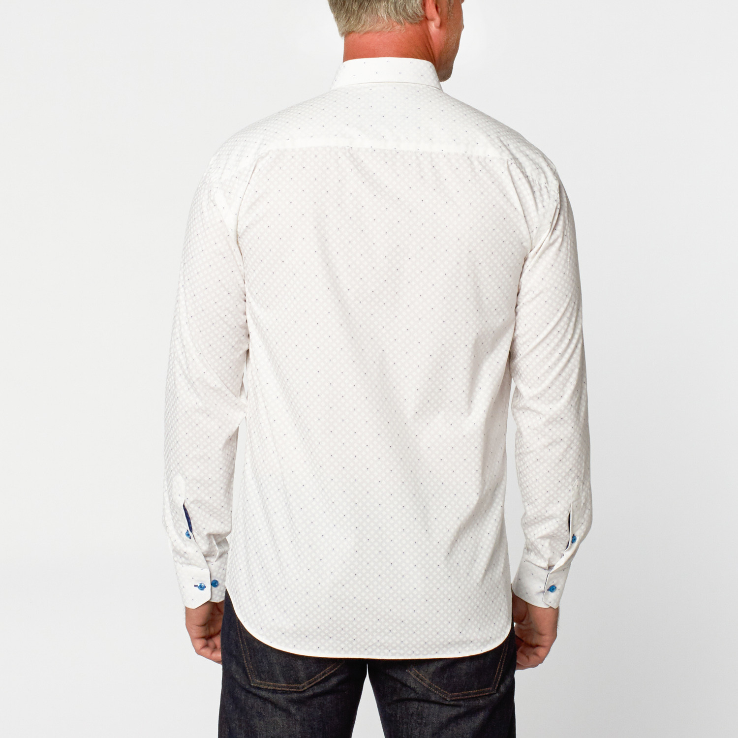 Long Sleeve Button Up Shirt White S Maceoo Touch