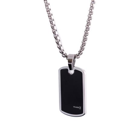 Logo Design Dog Tag Necklace // Black