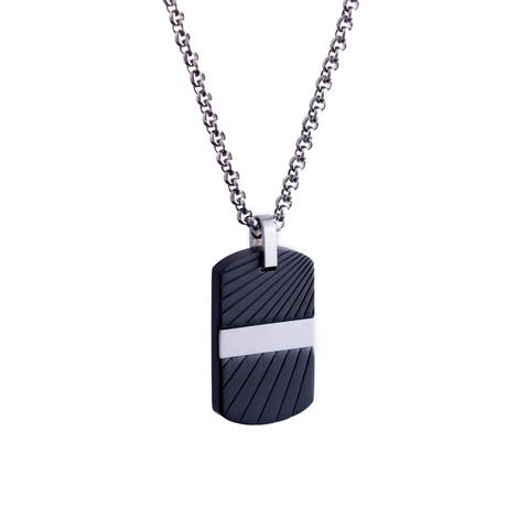Wave Design Dog Tag Necklace // Black