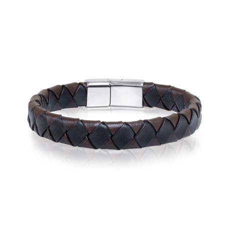 Black + Brown Leather Bracelet