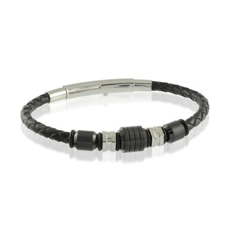 Stainless Steel Black Leather Beaded Bracelet