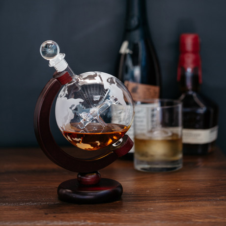 Airplane Globe Glass Decanter