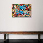 """Marvel Comic Book Captain America on Captain America Covers and Panels (26""""W x 18""""H x 0.75""""D)"""