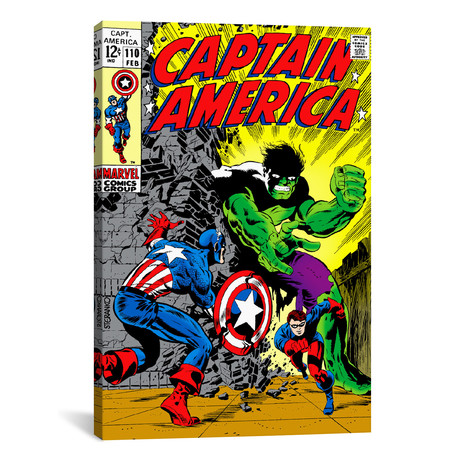 "Marvel Comic Book Captain America Issue Cover #110 (18""W x 26""H x 0.75""D)"
