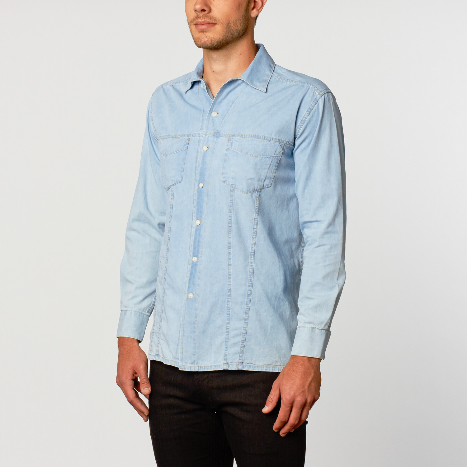 795f913b9ed Washed Denim Shirt    Ice Blue (S) - Lenor Romano - Touch of Modern