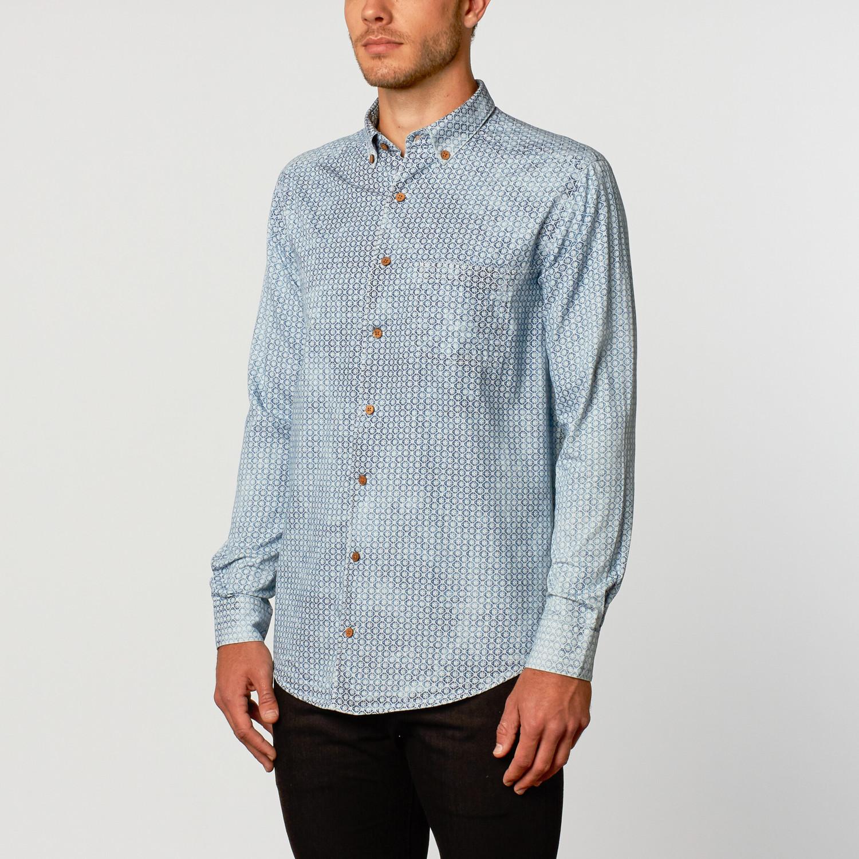 Long Sleeve Dress Shirt White Navy Stripe S Lenor Romano
