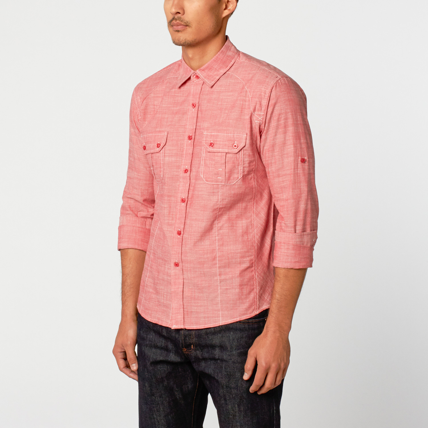 Textured chambray button up shirt red s caviar for Chambray 7 s