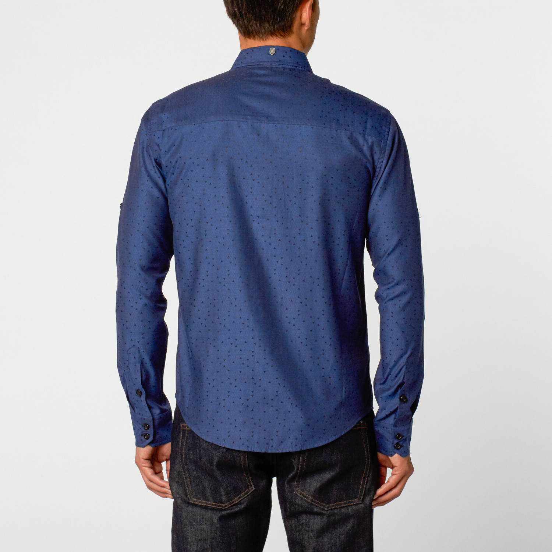 Geo Triangle Button Up Shirt Navy S Caviar Dremes
