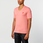 Versace // Short Sleeve V-Neck Tee // Coral (XL)