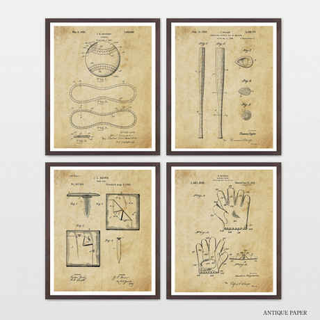 Baseball Patent Collection // 4 Print Set // Antique Paper