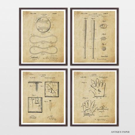 Baseball Patent Collection // 4 Print Set // Antique Paper