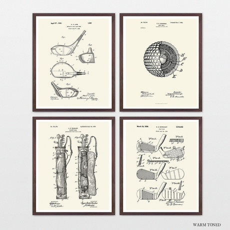Golf Patent Collection // 4 Print Set // Warm Toned
