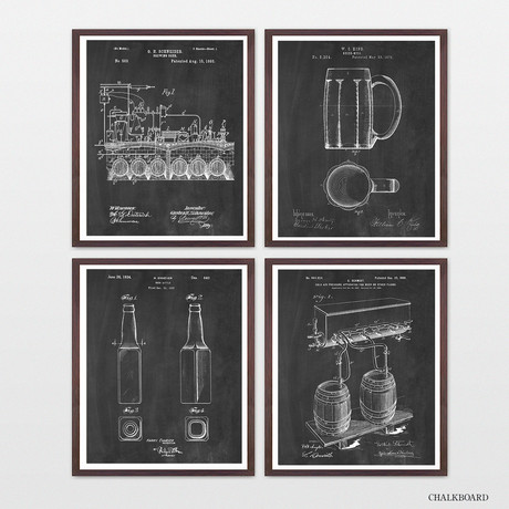 Beer Patent Collection // 4 Print Set // Chalkboard