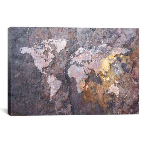 World Map on Stone Background