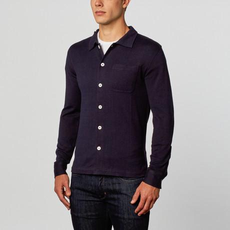 Cesarani // Cashmere Blend Knit Shirt // Navy