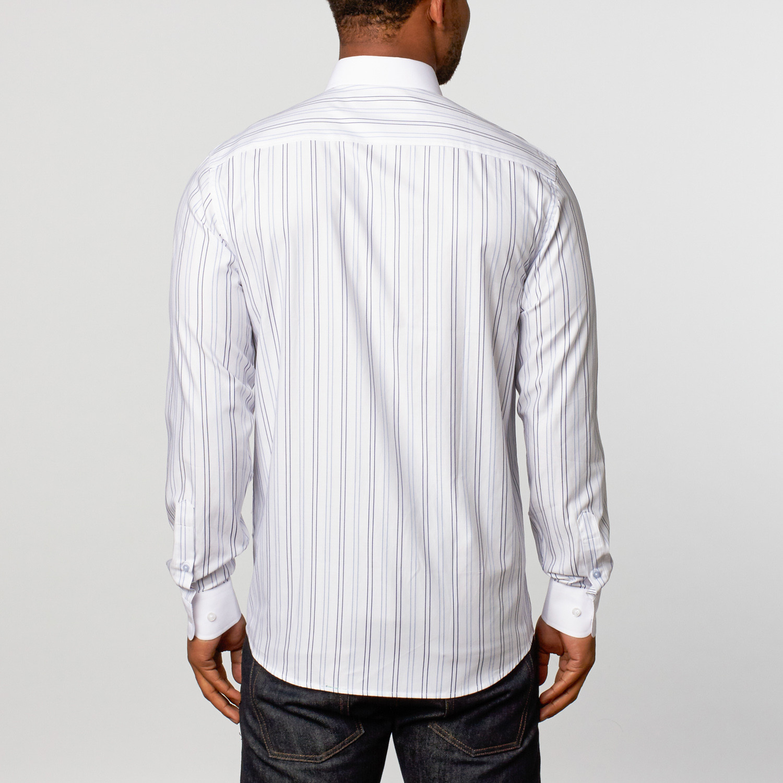 Classic Dress Shirt White Light Blue Navy Stripe S