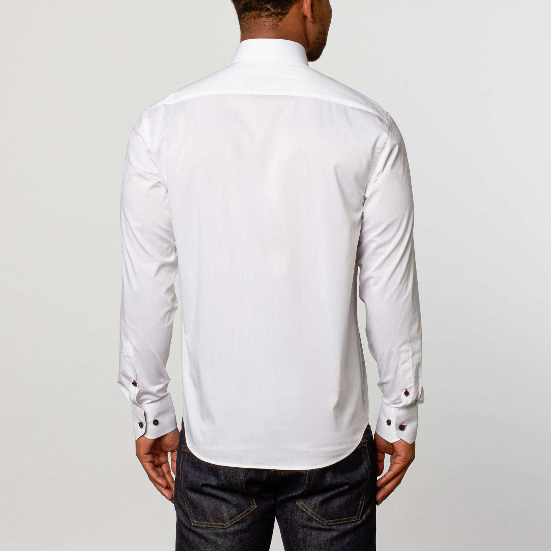 Classic Dress Shirt White Red S Brio Milano