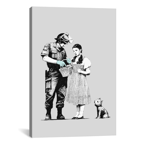 "Dorothy Police Search // Banksy (26""W x 18""H x 0.75""D)"