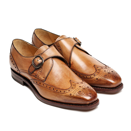 Tannerie d'Annonay // Wing Cap Monk Strap Brogue // Brown (Euro: 44)