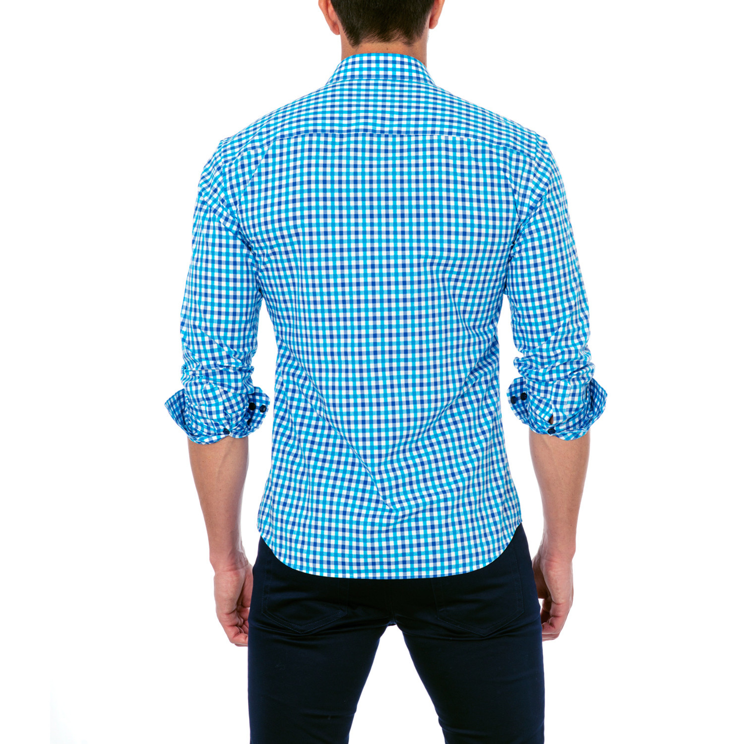 Classic dress shirt blue check s unsimply stitched for Blue check dress shirt