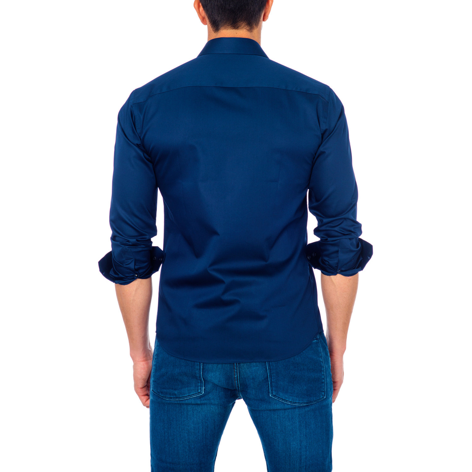 Solid Button Up Shirt Navy S Unsimply Stitched