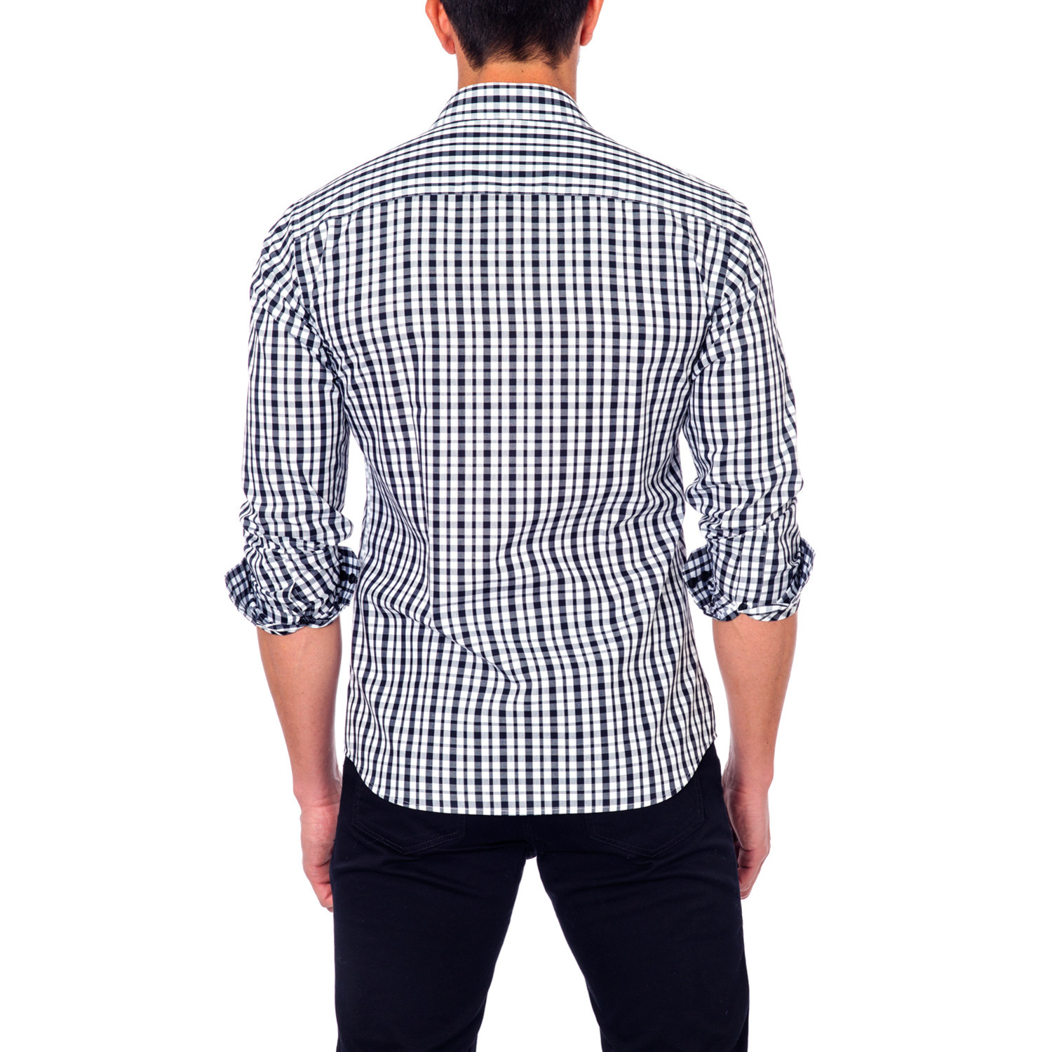Mixed plaid button up shirt black white s for Mixed plaid shirt mens
