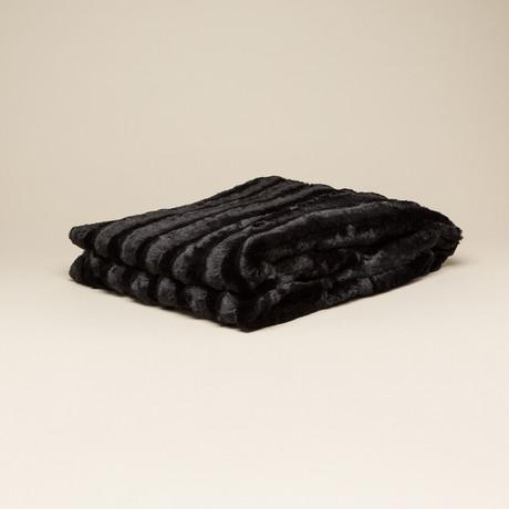 """Chinchilla Stripe Cuddle Fur Throw/Blanket // Black (50""""L x 65""""W)"""