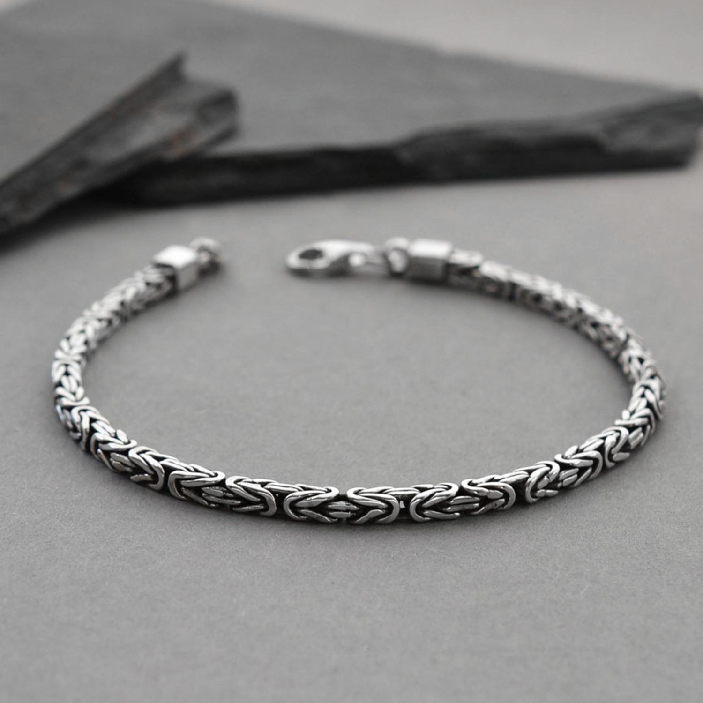 """b234989cb8581 Sterling Silver Square Borobudur Bracelet (3mm    7.5"""") - Martha ..."""