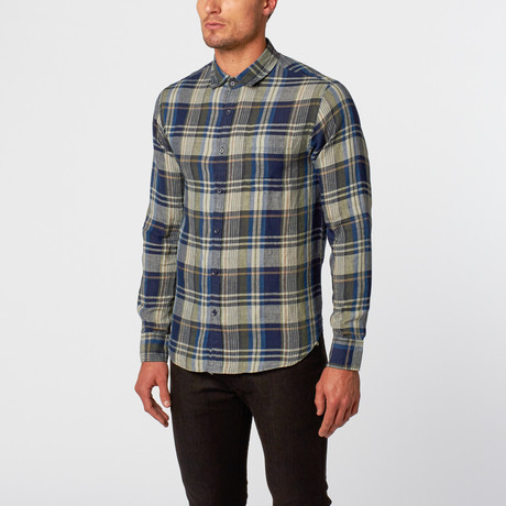 Plaid Button-Up Shirt // Blue + Green Check