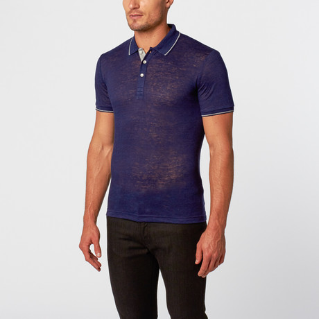 Textured Knit Polo Shirt // Indigo