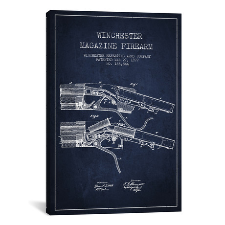 Winchester Rifle Patent Blueprint // Navy Blue