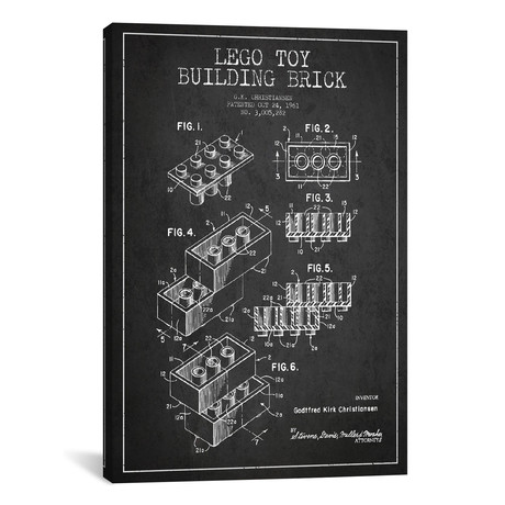 Toy Lego Patent Blueprint // Dark