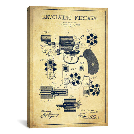 Revolving Firearm Patent Blueprint // Vintage