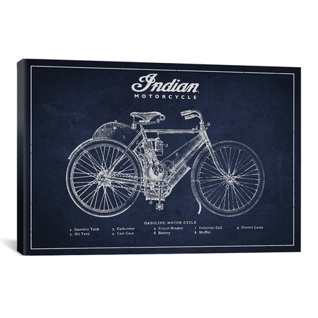 "Indian Navy Blue Patent Blueprint // Aged Pixel (18""W x 12""H x 0.75""D)"