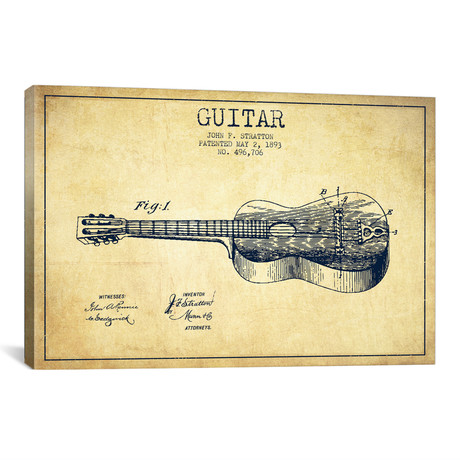 Guitar Patent Blueprint // Vintage