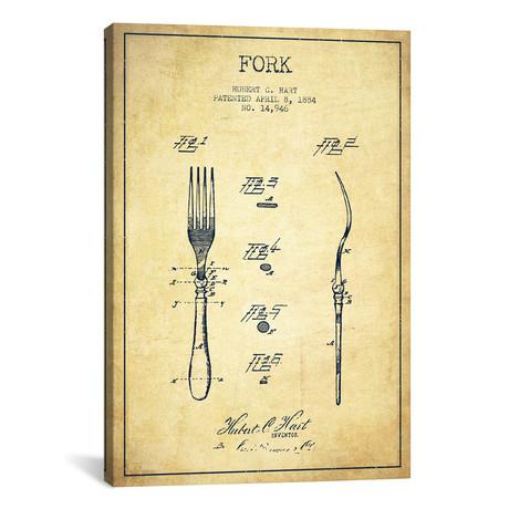 """Fork Vintage Patent Blueprint (18""""W x 26""""H x 0.75""""D)"""