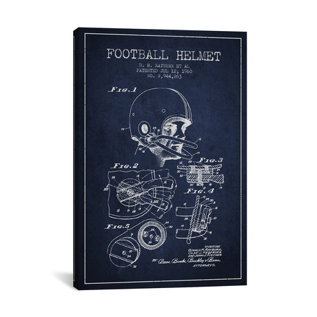 Football Helmet Patent Blueprint // Navy Blue