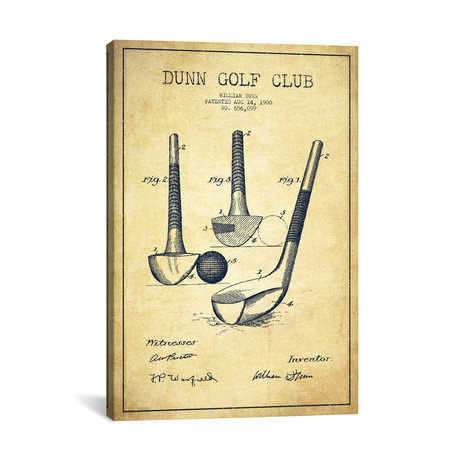 Dunn Golf Club Patent Blueprint // Vintage
