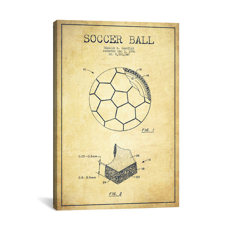 "Brantley Soccer Ball Vintage Patent Blueprint // Aged Pixel (26""W x 40""H x 1.5""D)"