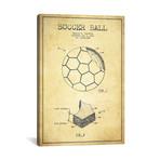 "Brantley Soccer Ball Vintage Patent Blueprint // Aged Pixel (26""W x 40""H x 1.5""D)"