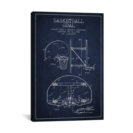 Basketball Goal Patent Blueprint // Navy Blue